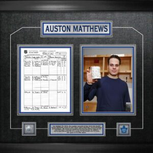 Auston Matthews Framed First game scoresheet collage
