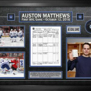 Auston Matthews Framed First Game Scoresheet with Signed Puck