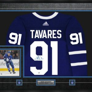 Tavares Signed Framed Adidas Pro Jersey with action photo