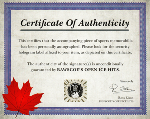 Rawscoe's certificate of authenticity