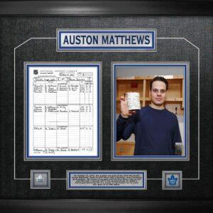 Auston Matthews Framed First game scoresheet collage
